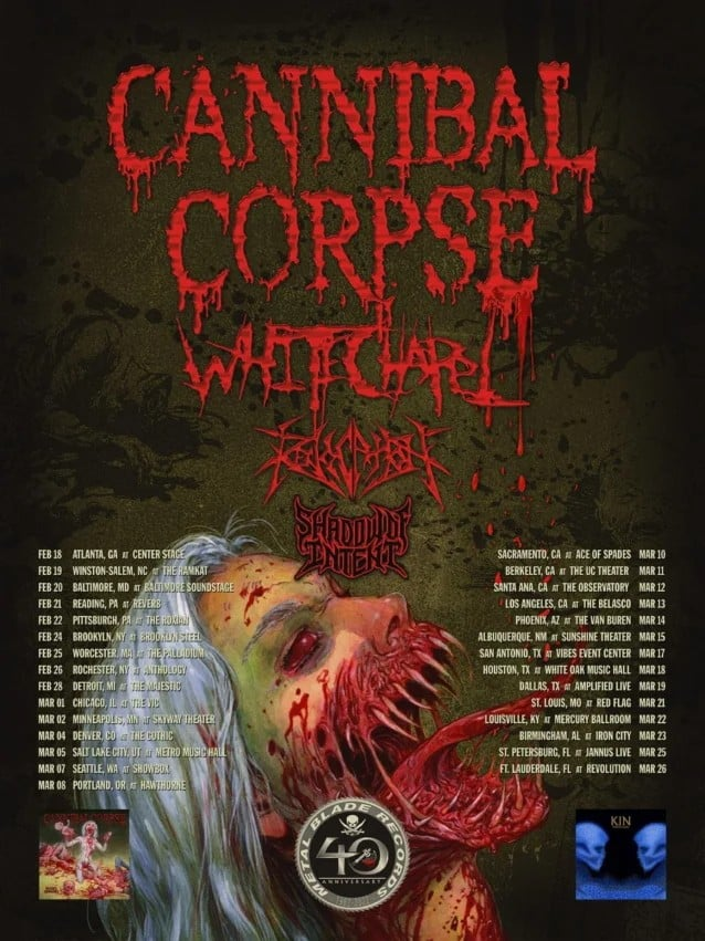 cannibal corpse tour dates, CANNIBAL CORPSE Announce 2022 U.S. Tour With WHITECHAPEL And REVOCATION