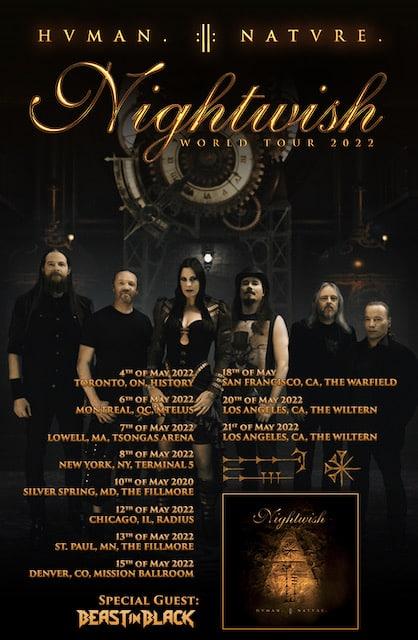 nightwish north american tour dates, NIGHTWISH Announce 2022 North American Tour With BEAST IN BLACK